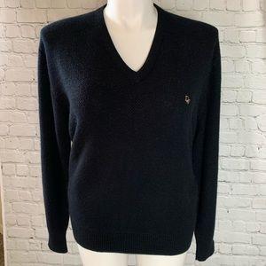 CHRISTIAN DIOR Vintage Black Vneck Sweater